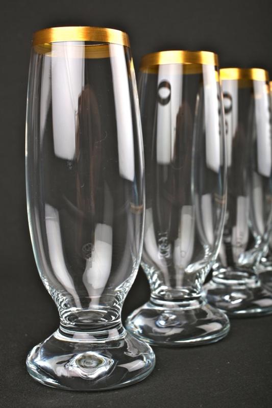 6 ingrid glas gl ser sektgl ser ingridh tte mit goldrand vintage 60er sektglas ebay. Black Bedroom Furniture Sets. Home Design Ideas