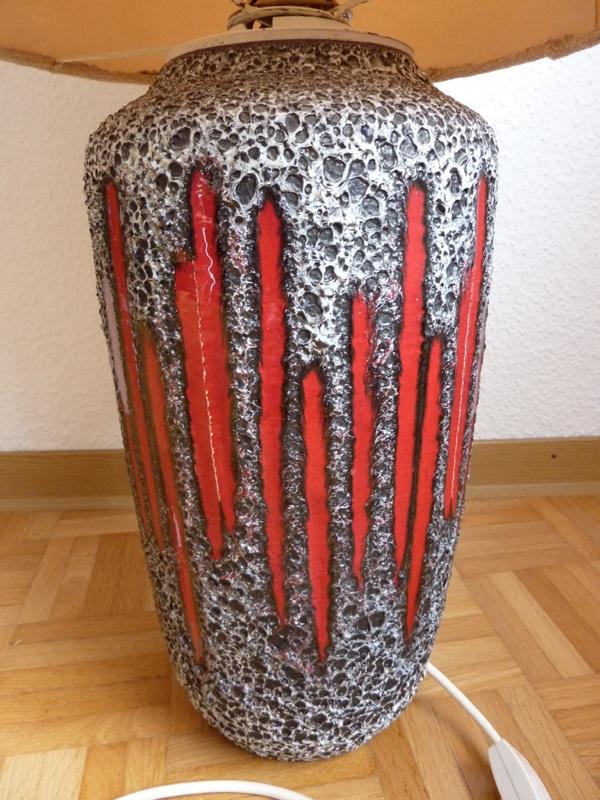 scheurich fat lava bodenlampe lampe wie vase 60er rar rot grau schwarz keramik ebay. Black Bedroom Furniture Sets. Home Design Ideas