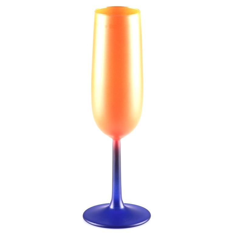 1 sektglas orange blau buntglas farbglas buntes glas matt w7e ebay. Black Bedroom Furniture Sets. Home Design Ideas