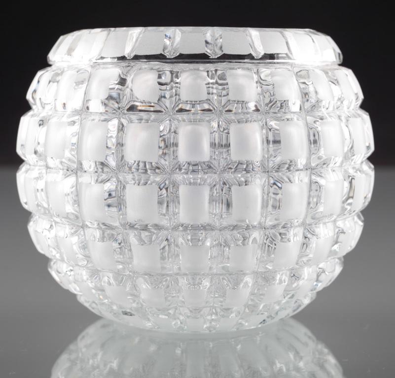 vintage 10 cm op art glas vase kugelvase klar matt rechtecke h1d ebay. Black Bedroom Furniture Sets. Home Design Ideas