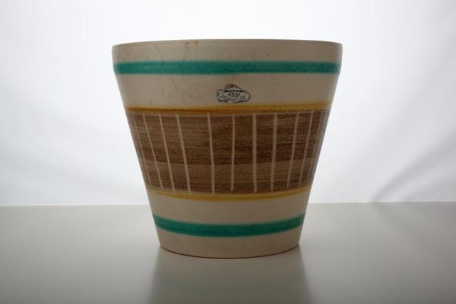 vintage 50er bay keramik bertopf creme gelb t rkis 17 5 cm topf 50s ebay. Black Bedroom Furniture Sets. Home Design Ideas