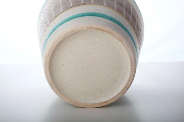 vintage 50er bay keramik bertopf creme gelb t rkis 17 5 cm topf 50s. Black Bedroom Furniture Sets. Home Design Ideas