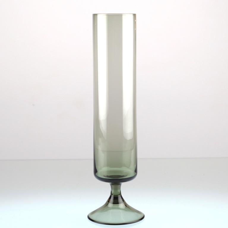 vintage glasvase fu vase grau zylinder vase glas 50er 60er jahre rauchglas u1u ebay. Black Bedroom Furniture Sets. Home Design Ideas