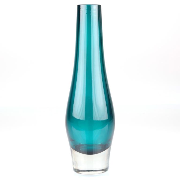 vintage glas vase t rkis klar 20 5 cm 60er jahre h1d ebay. Black Bedroom Furniture Sets. Home Design Ideas