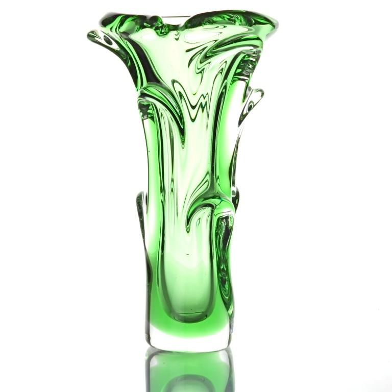vintage glas vase gr n green bohemia glass jan ber nek. Black Bedroom Furniture Sets. Home Design Ideas