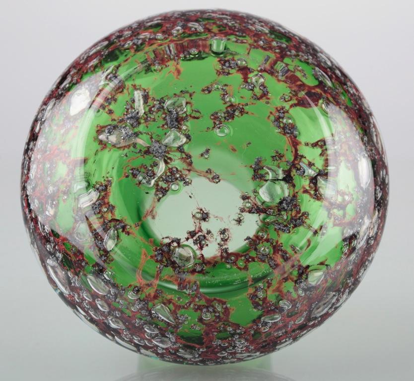 Vintage gr ne glasvase vase glas gr n luftblasen - Glasvase vintage ...