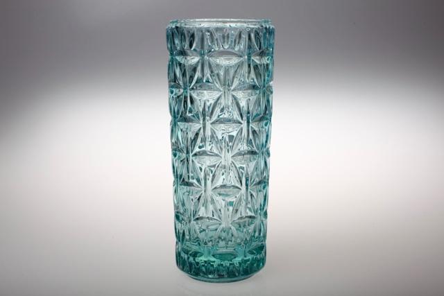 vintage pressglas vase 23 cm t rkis hellblau glas ebay. Black Bedroom Furniture Sets. Home Design Ideas