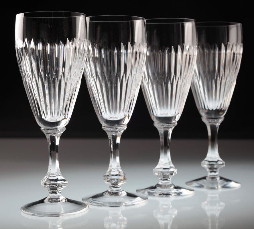 4 vintage sektgl ser kristall gl ser sektglas linien schliff glas ebay. Black Bedroom Furniture Sets. Home Design Ideas