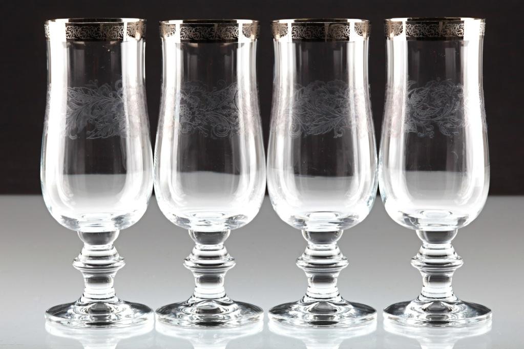 4 vintage veba glas biergl ser biertulpen tzdekor blumen platinrand gl ser w6b ebay. Black Bedroom Furniture Sets. Home Design Ideas
