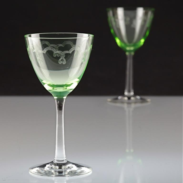 2 vintage weingl ser uranglas jugendstil art deco uranium glass gl ser r1u ebay. Black Bedroom Furniture Sets. Home Design Ideas