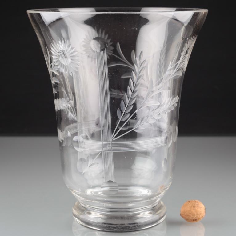 vintage xxl 2 92 kg kristall glas vase blumenvase schliff gravur 27 cm hoch u2o ebay. Black Bedroom Furniture Sets. Home Design Ideas